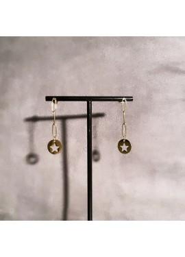 Pendientes cadena estrella dorados