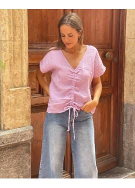 Camisa lino malva fruncido